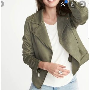Old navy green suede Moto jacket
